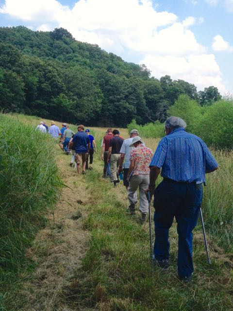Many members of Ozark Regional Land Trust take a hike on a conservation easement