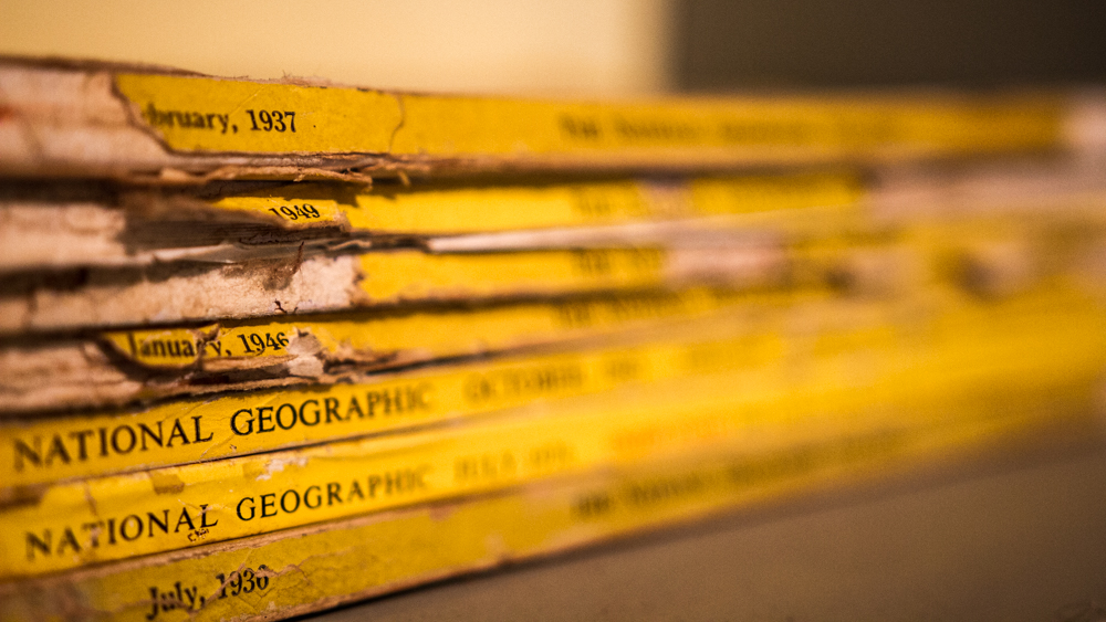 An old stack of pre-WWII National Geographics from the Oak Hill Grange Library