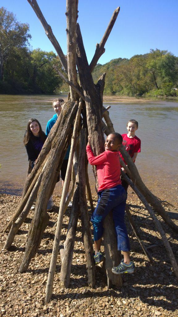kids play near river Missouri